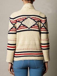 Apricot Long Sleeve Geometric Pattern Cardigan Sweater - Sheinside.com Mobile Site