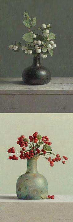 Henk Helmantel. (1945-...) Stilleven met sneeuwbes 46 x 31 cm - 1991