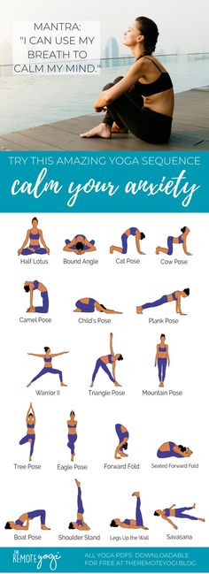 Anxiety reducing yoga PDF - These yoga poses for anxiety relief will reduce anxiety through focus & calming practices. Print out the yoga PDF today. poses acro poses advanced poses back pain poses flexibility poses for abs poses for beginner Yoga Bewegungen, Yoga Flow, Yin Yoga, Yoga Abs, Partner Yoga, Yoga Fitness, Pilates, Yoga Kurse, Beginner Yoga Workout