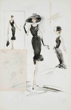 Edith Head sketch of a Givenchy design for Audrey Hepburn in Breakfast at Tiffany's (1961).