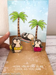 MFT Penguins in Paradise Handmade Pop-up Card