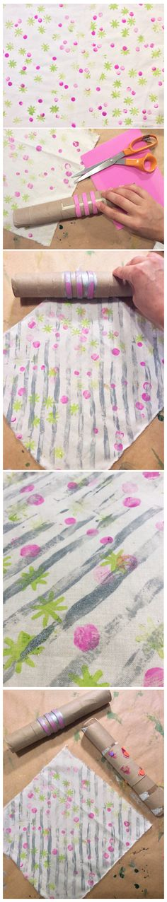 Poor Man's Screenprinting...using toilet paper and paper towel rolls, wine corks, and muslin.  Don't stop this painting party! We are making unique bandanas for use as army-figurine tarps, headbands, American Girl Quilts....and more!  Click PICTURE to learn about my free classes   #toiletPaperRoll #project #craft #kids #tutorial #stitchnstylestudio #MildaDesigns #miami #crafty #workshop #miamidadepubliclibrary #painting #cute #papertowel #winecork