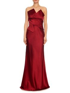 Alexander McQueen Washed silk duchess-satin strapless gown