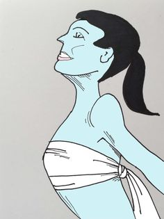"""ART EVERY DAY NUMBER 44 / DRAWING / COUTURIER is an interpretation of the outfit created by one artist who had an interest in fashion.  In 1965, Salvador Dali had his couturier debut, showing this tightly banded bikini which he called the """"no-bustline look"""". It was, as Dali said, """"… [created] to prove that bosoms are too conventional and biological…""""  (hmmm…)  One small piece of art & illustration a day / Janet Bright"""