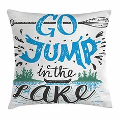 Cabin Decor Throw Pillow Cushion Cover by Ambesonne, Vintage Typography Inspiration Quote Lake Sign Canoe Fishing Sports Theme, Decorative Square Accent Pillow Case, 16 X 16 Inches, Blue Black Green