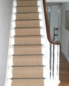 Sisal Carpet Laid As Runner With Stair Rods Sisal Stair Runner, Hall And Stair Runners, Hallway Carpet Runners, Cheap Carpet Runners, Wall Carpet, Carpet Stairs, Grey Carpet, Rugs On Carpet, Carpets