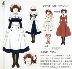 Mey Rin - (Anime) Casual Maid | White w/Red Trim Bathing Suit | Casual Red Dress Outfits