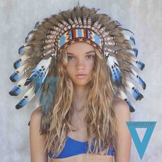 Indian Headdress in Blue by LAnativeAU on Etsy, $69.00