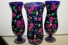 Unique Signed Hand painted Art Glass Candle Holder Flora Rose Bouquet Vase DGF6A Hand Painting Art, Glass Candle Holders, Rose Bouquet, Hurricane Glass, Glass Art, Flora, Hand Painted, Vase, Candles