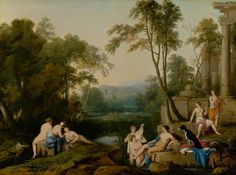 Diana and Her Nymphs in a Landscape -- Laurent de La Hyre (French, 1606 - -- 1644 -- Oil on canvas -- 100 x cm x 52 in. Landscape Walls, Landscape Paintings, Landscapes, Oil On Canvas, Canvas Prints, Art Prints, Getty Museum, European Paintings, Art Reproductions
