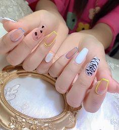 Cute Gel Nails, Glam Nails, Nail Manicure, My Nails, Nail Polish, Toe Nail Color, Nail Colors, Korea Nail Art, Vintage Nails