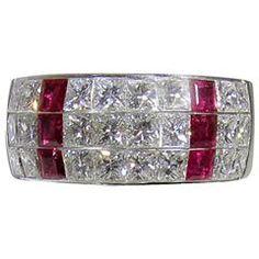 Tiffany & Co. Ruby Diamond Gold Band Ring