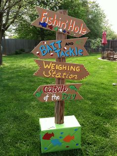 Angler , Fisherman's birthday party ~directional sign