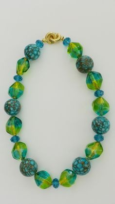 Mosaic Turquoise, Bicolor 24kt Gold Foil Murano Glass Bead, Swarovski Crystal Necklace by asrnecklacedesigns on Etsy