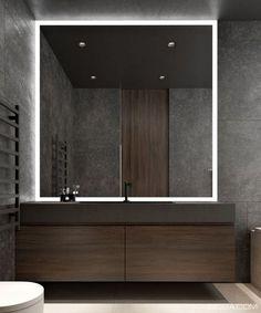 40 Nice Bathroom Mirror Design Ideas For Any Bathroom Model Bathroom Bathroom Mirror Design, Modern Bathroom Design, Simple Bathroom, Bathroom Interior Design, Bathroom Ideas, Bathroom Makeovers, Large Bathroom Mirrors, Modern Mirrors, Decorative Mirrors