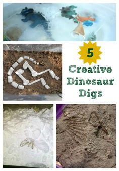 Explore these 5 great ways to create your own dinosaur dig and excavation site -- a fun way to explore some hands-on science!