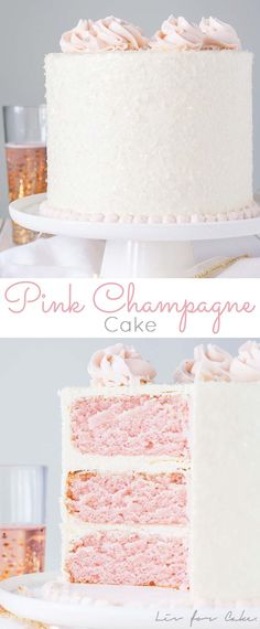 This Pink Champagne Cake is the perfect way to celebrate any occasion or holiday. This Pink Champagne Cake is the perfect way to celebrate any occasion or holiday! A champagne infused cake with a cl Just Desserts, Delicious Desserts, Dessert Recipes, Pink Desserts, Pink Sweets, Delicious Cookies, Baking Desserts, Cake Baking, Baking Recipes