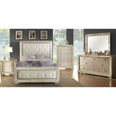 Celine 6 piece Mirrored and Upholstered Tufted King size Bedroom
