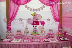 Pepa Princess Peppa Pig Party, Peppa Pig Baby, Cumple Peppa Pig, Peppa Pig Birthday Decorations, Peppa Pig Birthday Cake, Picnic Recipes, Picnic Ideas, Picnic Foods, Pig Baby Shower