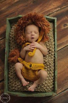 Crochet Lion Hat/bonnet And Diaper Cover Photography Prop, Newborn Boy or Girl