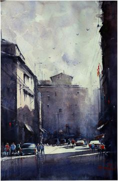 Title - kolkata mood  Size-57x39cm, Medium - watercolor on paper, India 2014 by Chandan Pramanik,Email - animchandan@gmail.com.