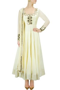 Light yellow mirror work anarkali set BY ARPITA MEHTA. #perniaspopupshop