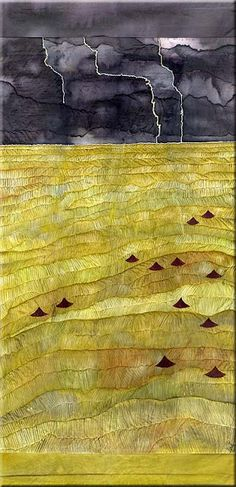 Ricefields - Petra Voegtle (VyalaArts) - painted and embroidered silk scroll