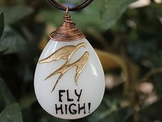 Fly High! necklace. Engraved glass pendant $32.00 http://www.etsy.com/shop/terrarusticadesign #engraved #stone