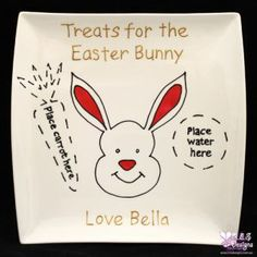 TREATS FOR THE EASTER BUNNY PLATE- PLACE HERE....., PERSONALISED (SQUARE PLATE)