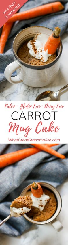 #Paleo and #glutenfree Carrot Mug Cake takes less than 5 minutes to make, and it's a delicious and easy dessert for 1! #dairyfree #dessert via @whatggmaate