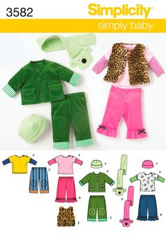 Simplicity Babies' Pants, Jacket or Vest, Knit Top and Fleece Hat and Scarf Pattern 3582 Sewing Patterns For Kids, Mccalls Patterns, Simplicity Sewing Patterns, Baby Patterns, Clothing Patterns, Baby Pants, Pants Pattern, Baby Size, Cute Pattern