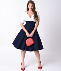 Let Delores get domestic with you, darling. A bewitching navy skirt and white top dress rich in 1950s vintage appeal fresh from Unique Vintage,…