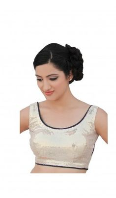 Round neck golden sheeting saree blouse patterns with purple, green piping and beautiful beaded tassel hangings. For more detail visit http://www.kbshonline.com/