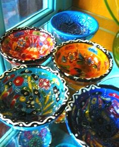 Handmade pottery bowls from Greece - pretty colors!
