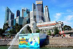 The city skyline backgrounds this site. The Marina Bay, Central Business District, famous hotels, are located in this area. One of the modern city in Asia.  The lion head fish was the iconic symbol of Singapore.
