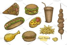 Fast Food Vector Set Graphics Set of fast food products: pizza slice, sandwich, cheeseburger, soda, kebab, hot dog, french fries ( by Eugenia Hauss Design