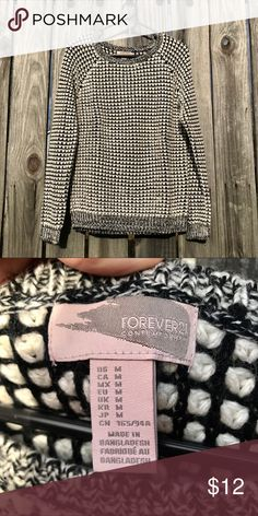 Forever 21 sweater Black and white Forever 21 sweater. Only worn a couple of times. Very cute and soft! - Thank you for looking at my item, please comment if you have any questions! Forever 21 Sweaters