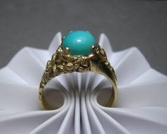 10k Gold Nugget Ring Turquoise Mens Ring 7.7g Size 13