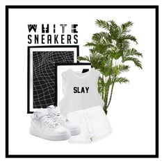 """white sneakers is better"" by therealexandra on Polyvore featuring Topshop and NIKE"