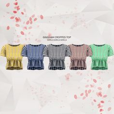 Gingham Cropped Top for The Sims 4