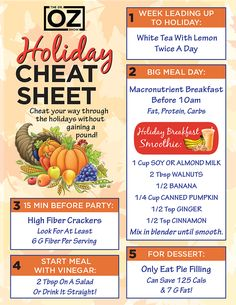 Dr. Oz's Holiday Cheat Sheet | The Dr. Oz Show | Follow this board for all the latest Dr. Oz Tips!
