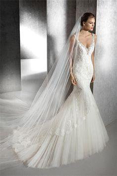 v neck lace wedding dress tulle strap