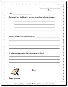 Missing Homework Letter - Have students complete this and get it signed when they have several missing assignments for the week