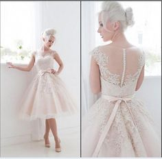 Wholesale cheap lace wedding dresses online, 2014 fall winter - Find best cheap 2014 lace sheer wedding dresses short vintage tea length bridal gowns backless cap sleeve applique tulle A line sash formal dress at discount prices from Chinese a-Line wedding dresses supplier on DHgate.com.