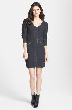 Leith Open Cable Knit Sweater Dress | Nordstrom