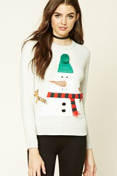 A heathered knit sweatshirt featuring an embroidered holiday snowman graphic with sequins, a crew neck, long sleeves, and ribbed trim.