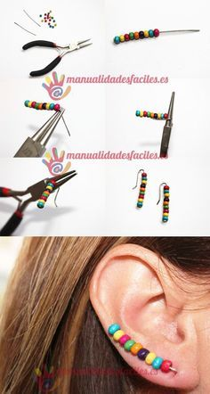 Decorate your ears materials 2 pins or rods of 5 cms also can make them with magical thread 1 mm small colorful beads round nosed pliers diyjewelry Diy Necklace, Beaded Earrings, Earrings Handmade, Beaded Jewelry, Handmade Jewelry, Stud Earrings, Cute Jewelry, Jewelry Crafts, Unique Jewelry