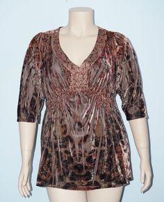Apt. 9 Woman 3x Brown Sublimation Velvet 3/4 Sleeve Embellished Babydoll Blouse #Apt9 #Blouse