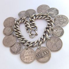 Antique American Victorian Sterling Silver Engraved Love Token Coin Bracelet | eBay