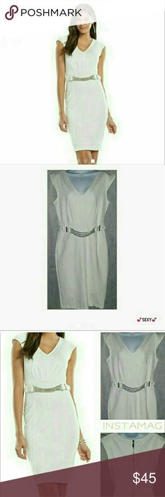 SEXY! White Slim U Thick Ponte Sheath Midi Dress Gorgeous very well constructed thick non see through white ponte sheath dress with exposed back zipper & attached chain belt (silver). Dress is designed so well it actually creates an hour glass figure even if you dont have one. From the detailed stitching to the way the dress is cut you'll know why Jennifer Lopez always looks so hot after you try her dress on. If you are a size 6 definitely dont hesitate to buy it. MEASURMENTS TAKEN LAYING…